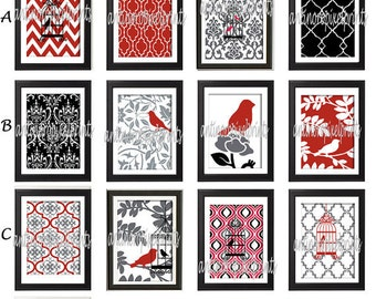 Red Black Grey Bird Damask Wall  Art Prints -Pick Any (9) Prints, Any Color - 8x10 Prints - Custom Colors Sizes Available (UNFRAMED)