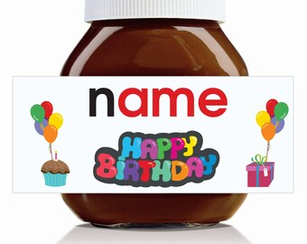 Personalised 'Happy Birthday' Label for 750g Nutella Jar!