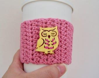 Owl Lover Gift / Owl Travel Mug Cozy / Teacher Gift / Coffee Lover Gift / To Go Cup Cozy / Travel Mug Sleeve / Fall Accessories / Christmas