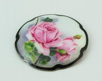 Victorian Floral Brooch, Vintage Brooch, Pink Floral, French, French Victorian, Flowers,Garden Party, Floral, Floral Brooch, Sterling Silver