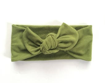 Olive Baby Headband // Baby Headwraps // Baby Topknot // Newborn Headbands // Baby Olive Headband // Gifts for a Baby Girl