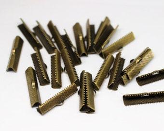 Ribbon Crimp Ends, Antique Bronze 30 mm Cord end tip crimp- Jewelry Making Clasp - Ribbon claps