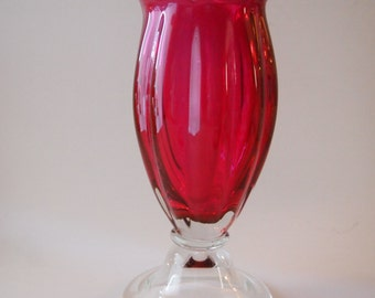 Cranberry Ruffled Art Glass Vase