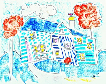 """Cottage Bungalow Beach House 1, 11"""" x 14"""" original signed drawing"""