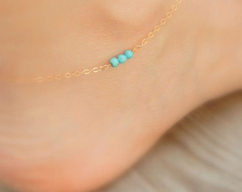 Blue beaded anklet, Dainty anklet, Boho anklet, Three blue beads anklet, Gold filled anklet, Bridesmaid anklet, Turquoise jewelry