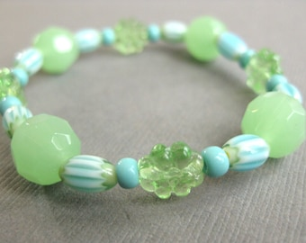 Green and Turquoise, Large Girls Stretch Bracelet, GB 108