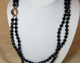 Vintage Double Strand 8mm Glass Bead Necklace