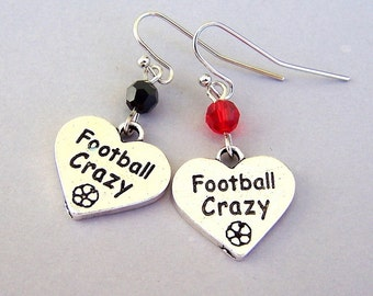 Customized football earrings, Football Crazy silver heart earrings, birthday gift, gift for her, love football, choose your colors