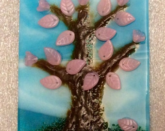 PINK GLASS TREE Fused Glass Night Light Czech Glass Leaves T09