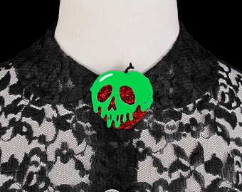 Poison Apple Brooch - Red Glitter Apple - You Select Poison Slime Color - Acrylic Laser Cut Pin