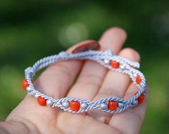 Soutache bracelet, Arm party, Mother of pearl sculpted button, Ethnic jewelry, Silver wood unique jewelry, Orange coral, Friendship bracelet