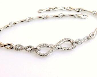 Gold infinity bracelet, 14k gold bracelet, Diamond bracelet, Infinity bracelet, Delicate bracelet, Gold diamond bracelet, Diamond chain