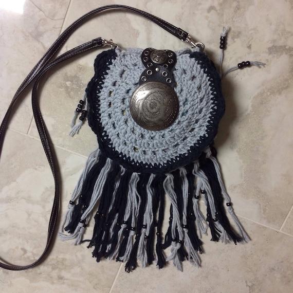 Handmade Purse Crocheted small boho hippie fringed crossbody shoulder bag, Free Shipping
