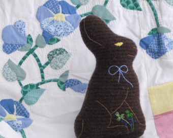 Recycled felted wool chocolate bunny- boy with baby blue back