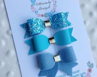 Blue hair bows, baby hair bows, baby headband, glitter hair bows, felt hair bows, hair bow clips, soft hair bows, hair clips