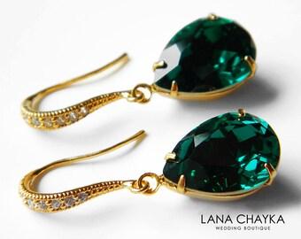 Emerald Green Crystal Earrings Swarovski Emerald Rhinestone Vermeil Gold CZ Earrings Wedding Earrings Bridesmaid Jewelry Teardrop Earrings
