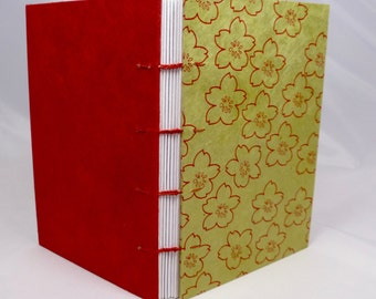 Green Hand-sewn Journal with Red Flowers