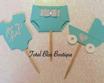 12 Baby & Co. Cupcake Toppers, Breakfast at Tiffany's Baby Shower Decorations, Stork and Co. Favors, It's a Girl Party, Robbin Egg Decor