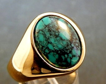 AAA Natural  Spiderweb Turquoise   16x12mm  4.15 Carats   in Heavy 14K gold Mans Ring 20 grams C1612 1410 MMMM