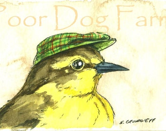 ACEO signed PRINT - Yellow Wagtail in a hat