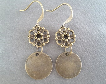Antique Brass Flowers and Discs . Earrings
