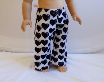 Heart Pajama Pants for Dolls, 18 Inch Doll Clothes, Girl Doll Pajamas, Sleepwear