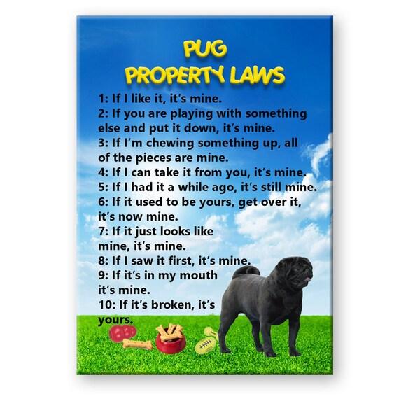 Pug Property Laws Fridge Magnet (Black)