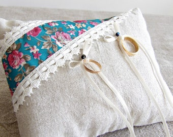 Nest egg holder, linen and vintage fabric with roses