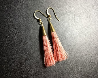 Tassel earrings, pink tassel earrings