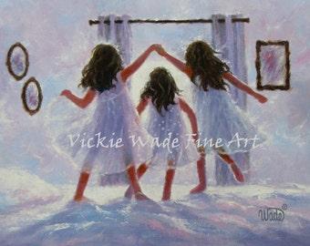 Three Sisters Art Print, three girls london bridges bedroom wall art decor, three best friends, jumping on the bed,  Vickie Wade art