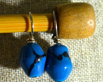 Robin Egg Blue Speckle glass bead handmade stitch markers for knitting (Qty 12)