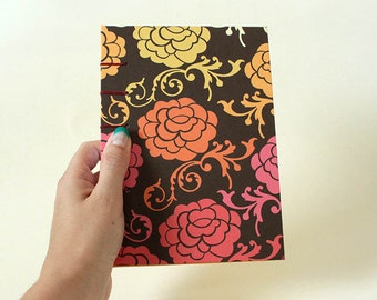 Bold Floral Cheery Yellow Blank Book Coptic Journal or Notebook