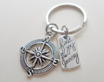 Compass Keychain, Graduation Gift, Gift for Graduation, 2018 Graduate Gift, Couples Gift, Boyfriend Keychain Gift, Anniversary Gift,
