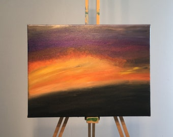 Painting - Purple and Orange sunset