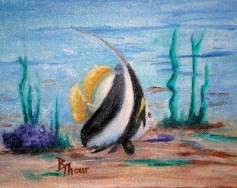 Black and White Striped Fish Original 5x7 Oil Painting