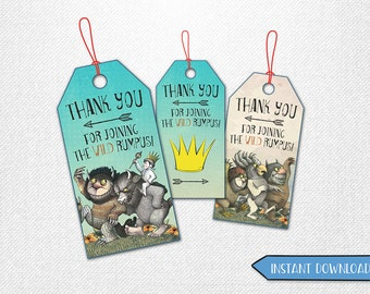 Where the Wild Things Are thank you tags, Where the Wild Things Are tags, Where the Wild Things Are favor tags!