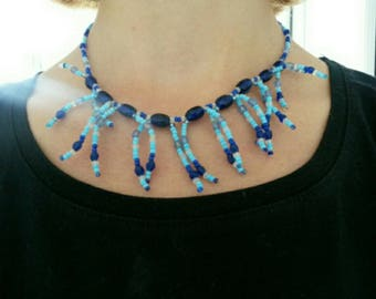 Fashion necklace with seed beads and glass beads. Hand made