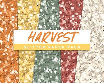 Harvest Collection Glitter Seamless Paper Pack // Seamless Pattern Digital Papers Planner Stickers Clipart Digital Scrapbooking