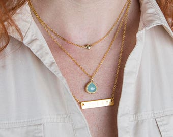 Customised layering gold necklace, personalised golden bar bohemian jewelry, dainty layering choker, three layer heart stone necklace