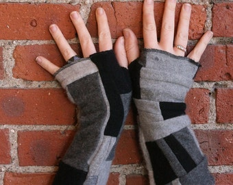 100% cashmere fingerless gloves - patchwork armwarmers - cashmere gloves - black gray and red and gray - handmade gloves