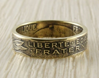 Coin ring from 20 centimes (France)
