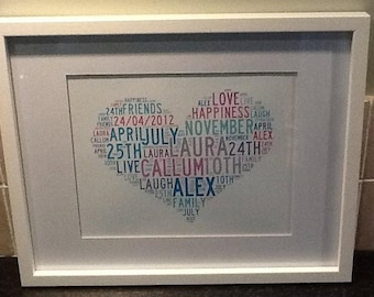 Personalised Heart Word Art Print - A4