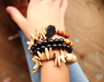 wooden beaded bracelets Gemstones combined set of 4 stackable bracelets, wood bead bracelet, stretch bracelet, stocking, bracelets SET
