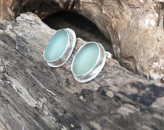 Scottish sea glass fine sterling silver bezel set stud earrings in seafoam