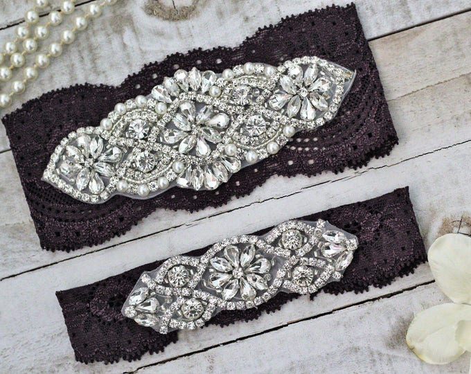 Plum Purple Wedding Garter Set NO SLIP grip vintage rhinestones pearl lace rhinestone PLUM G01S-G*02S