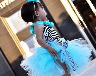 Tutu Aqua Zebra Tutu Baby Toddler Outfit Costume Set 4 pc (Tutu, Stylish Top, Headband & Shoes)