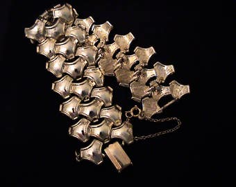 Vintage CORO Wide Gold Tone Bracelet