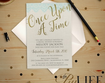 Once upon A Time Fairy Tale Bridal Shower Invitation Printable DIY No. I218