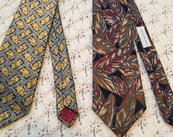 Leaves/Fall Colors Two  %100 Silk Vintage 1980's Neckties