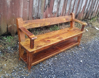 Custom Reclaimed Wood Relaxed Back Farm Bench with Armrests